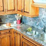 Blue Bahia granite with full granite backsplash and undermount sink