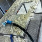 Granite fabrication process. Slab and undermount sink cut, ready for edge detailing