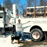 Work truck with crane to ensure safe transport and install of your granite project