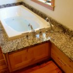 full slab granite tub deck